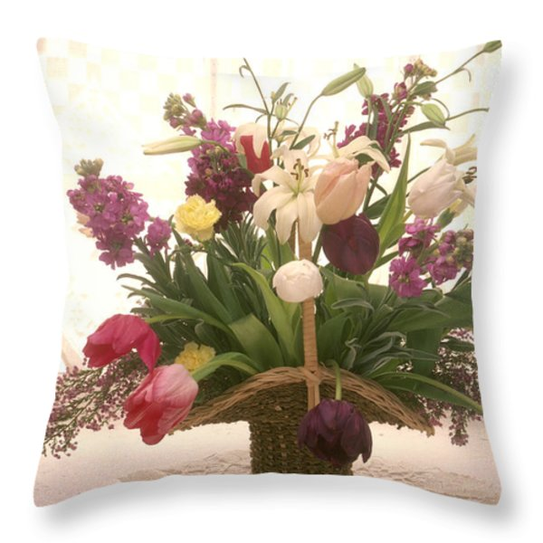 Basket of flowers in window Throw Pillow by Garry Gay