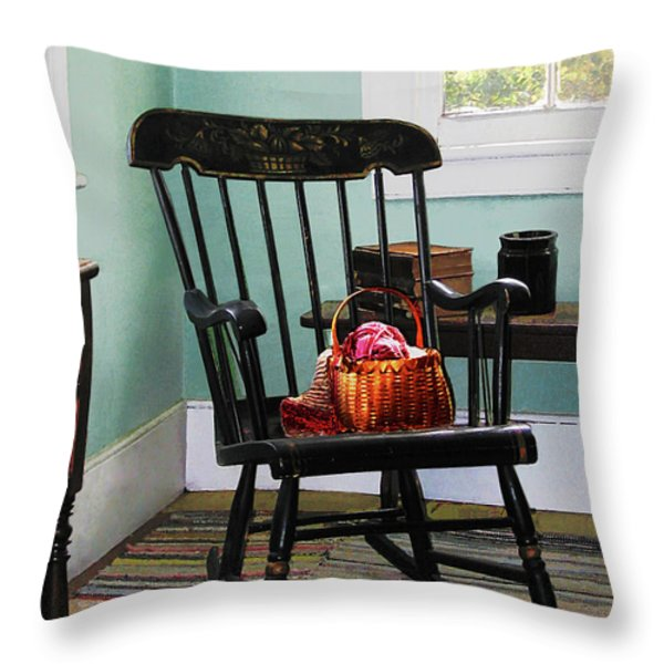 Basket of Yarn on Rocking Chair Throw Pillow by Susan Savad