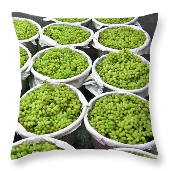 Baskets Of White Grapes Throw Pillow by Douglas Barnett