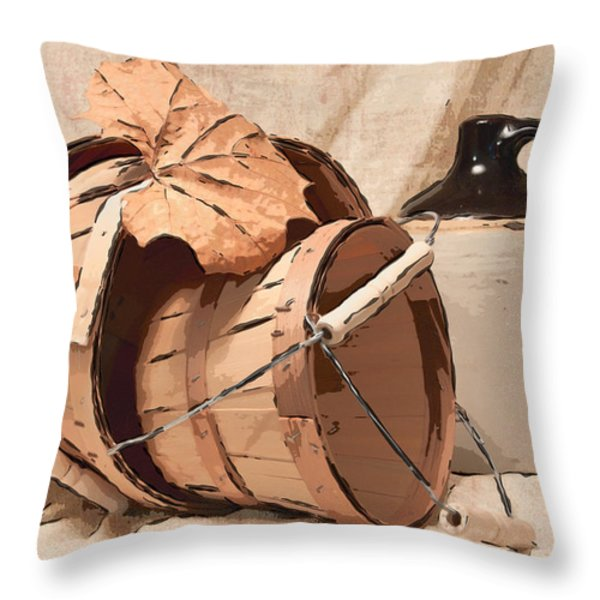 Baskets With Crock I Throw Pillow by Tom Mc Nemar