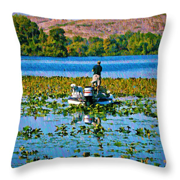 Bass Fishing Throw Pillow by Bill Cannon
