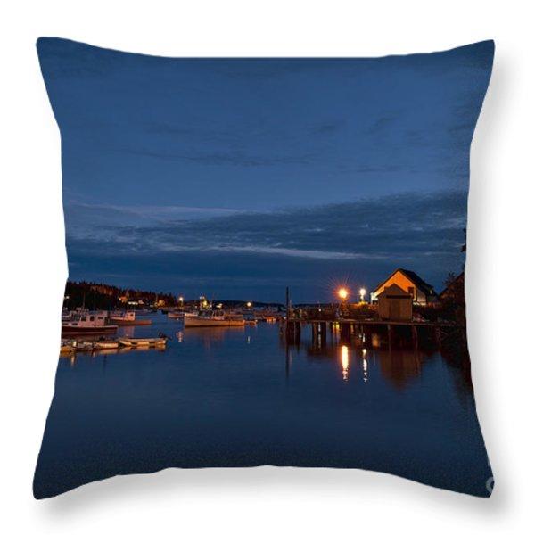 Bass Harbor at night Throw Pillow by John Greim