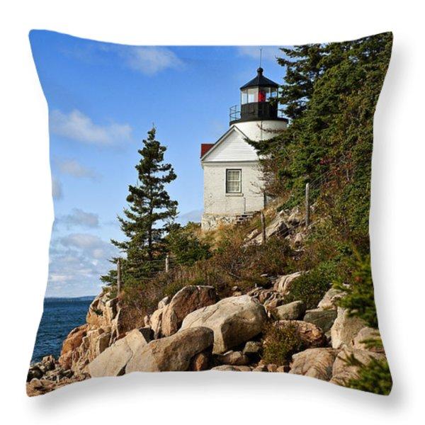 Bass Harbor Light Throw Pillow by John Greim