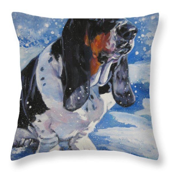 basset Hound in snow Throw Pillow by L A Shepard