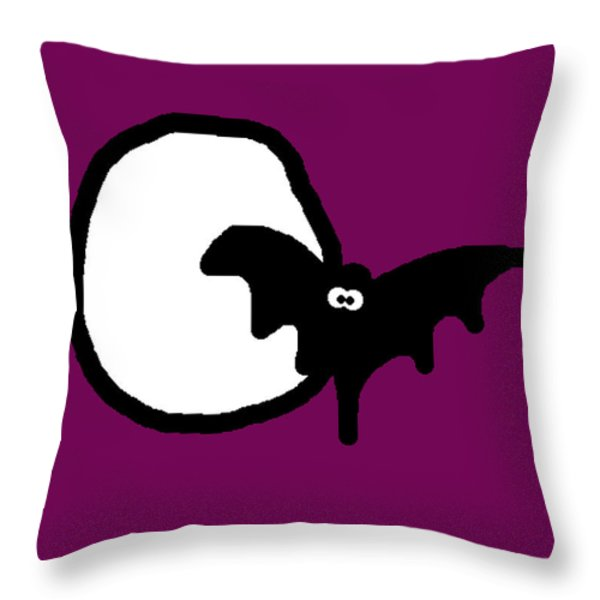 Bat n Moon Throw Pillow by Jera Sky
