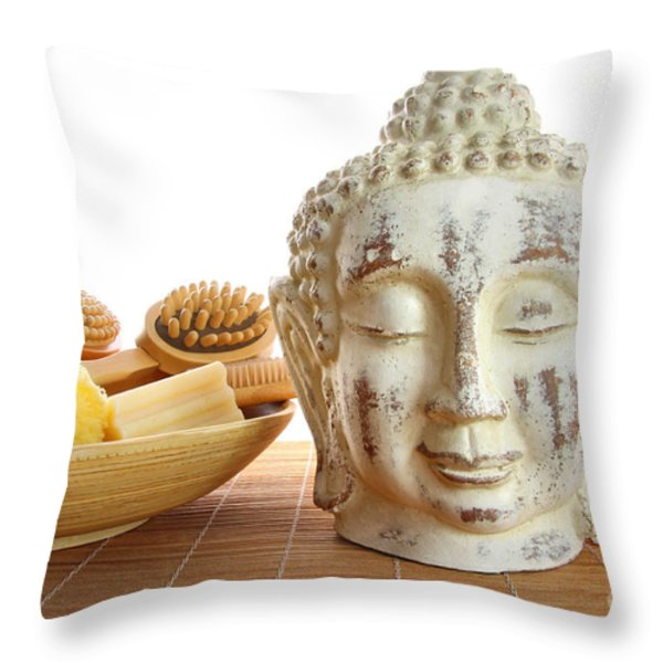 Bath accessories with buddha statue Throw Pillow by Sandra Cunningham