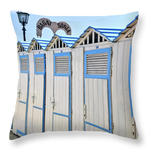 Bathhouses In The Mediterranean Throw Pillow by Joana Kruse