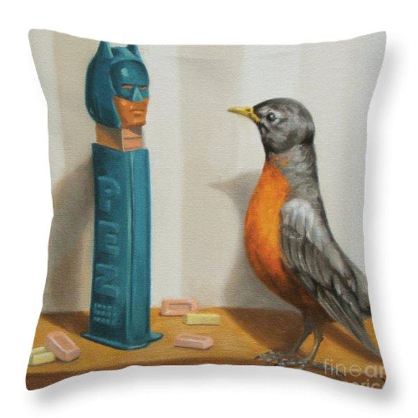 Batman And Robin Throw Pillow by Judy Sherman
