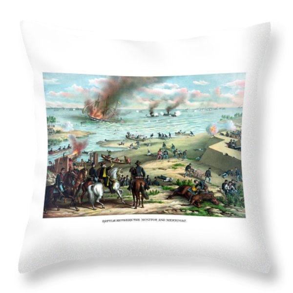 Battle Between The Monitor And Merrimac Throw Pillow by War Is Hell Store