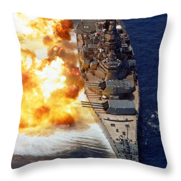 Battleship Uss Iowa Firing Its Mark 7 Throw Pillow by Stocktrek Images