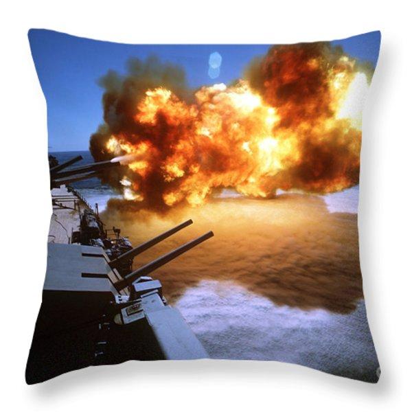 Battleship Uss Missouri Fires One Throw Pillow by Stocktrek Images