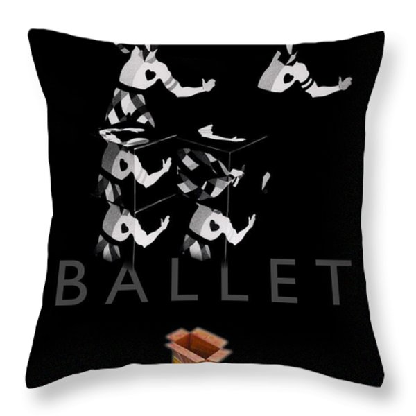 Bauhaus Ballet Black Throw Pillow by Charles Stuart