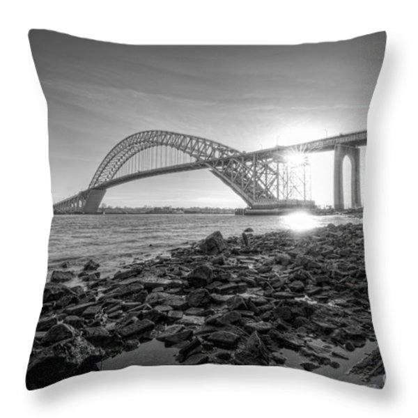Bayonne Bridge Black And White Throw Pillow by Michael Ver Sprill
