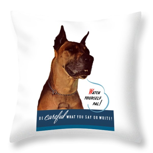 Be Careful What You Say Or Write Throw Pillow by War Is Hell Store