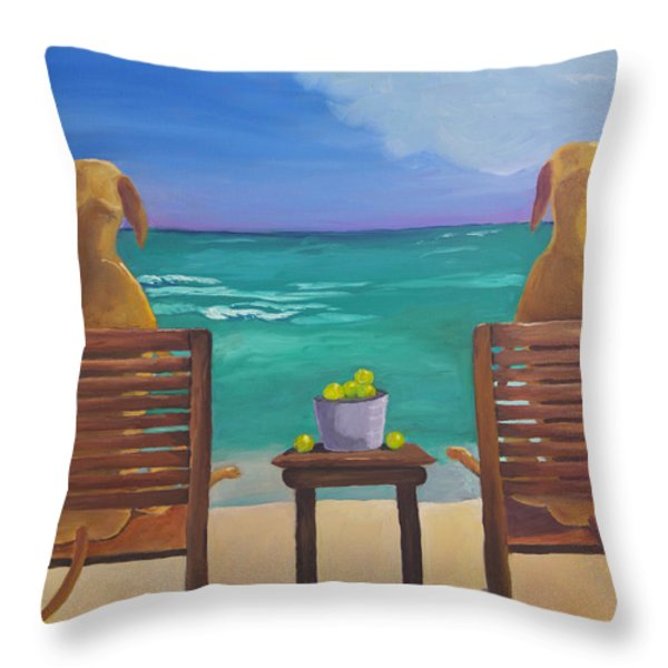 Beach Blondes Throw Pillow by Roger Wedegis