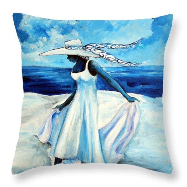 Beach Blues Throw Pillow by Diane Britton Dunham