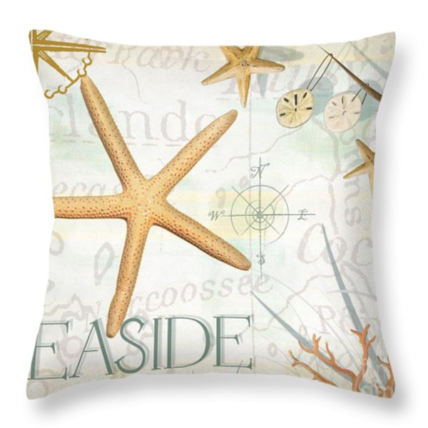Beach Collage C Throw Pillow by Grace Pullen