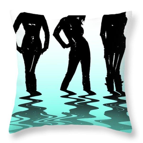 Beach Girls Throw Pillow by Svetlana Sewell
