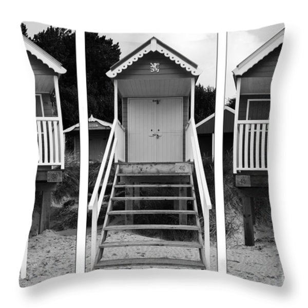 Beach hut triptych Throw Pillow by John Edwards