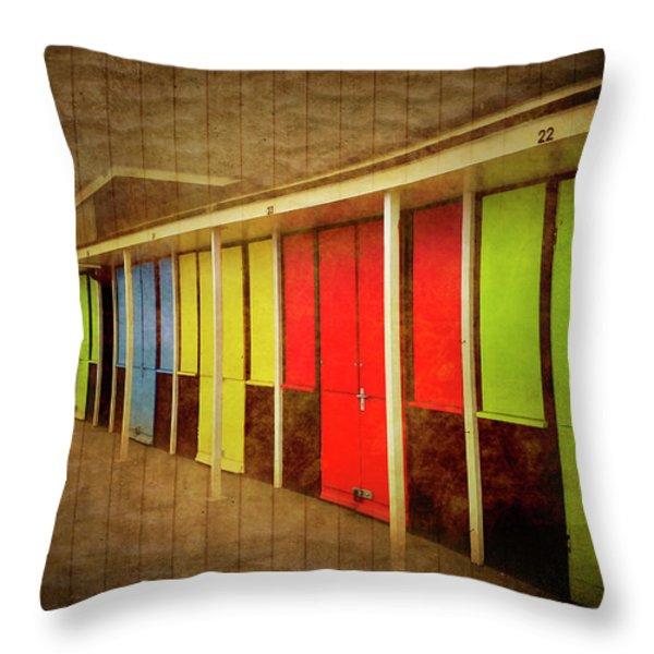 Beach Huts Throw Pillow by Svetlana Sewell