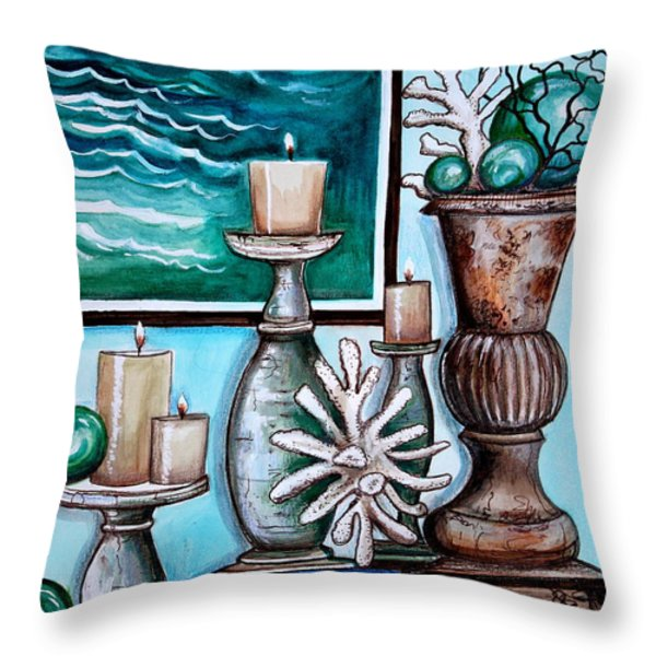 Beach Nautical Decor Throw Pillow by Elizabeth Robinette Tyndall