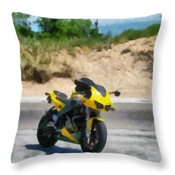 Beach Road Buell Throw Pillow by Michelle Calkins