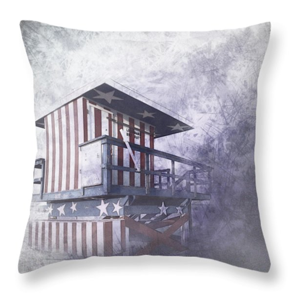 Beachlife in the Past Throw Pillow by Melanie Viola