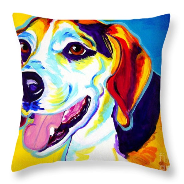 Beagle - Lou Throw Pillow by Alicia VanNoy Call