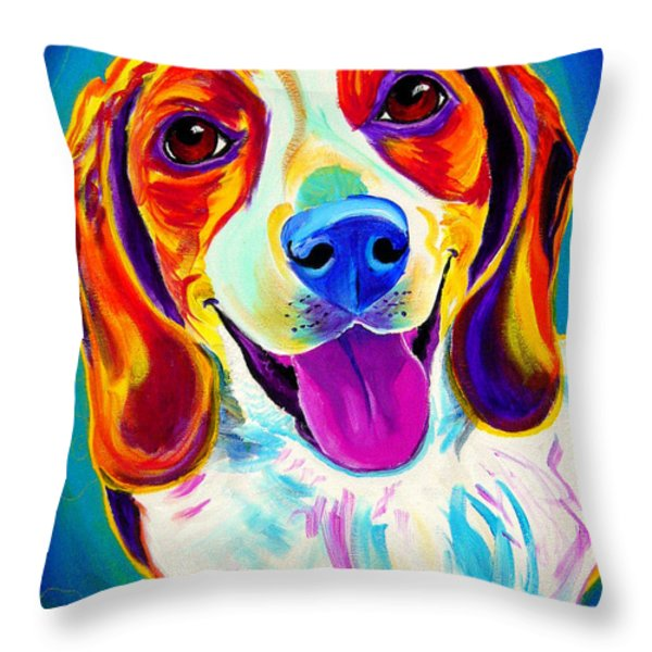 Beagle - Lucy Throw Pillow by Alicia VanNoy Call