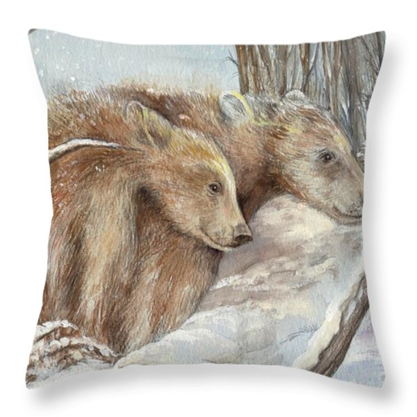 Bears in The Snow Throw Pillow by Morgan Fitzsimons