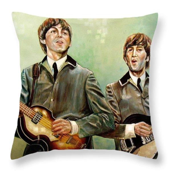 Beatles Paul And John Throw Pillow by Leland Castro