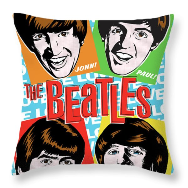 Beatles Pop Art Throw Pillow by Jim Zahniser