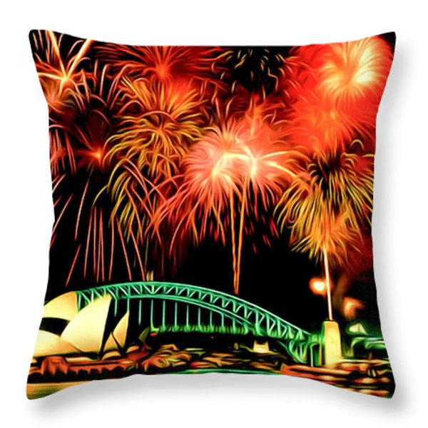 Beautiful Colorful Holiday Fireworks 2 Throw Pillow by Lanjee Chee