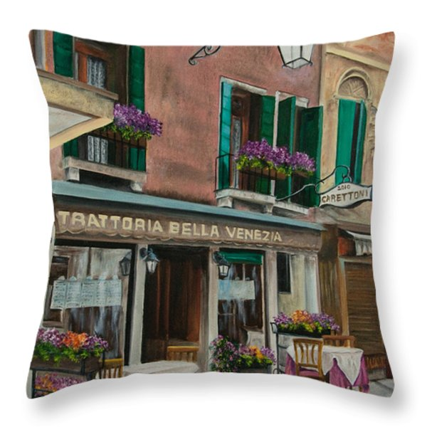 Beautiful Restaurant In Venice Throw Pillow by Charlotte Blanchard