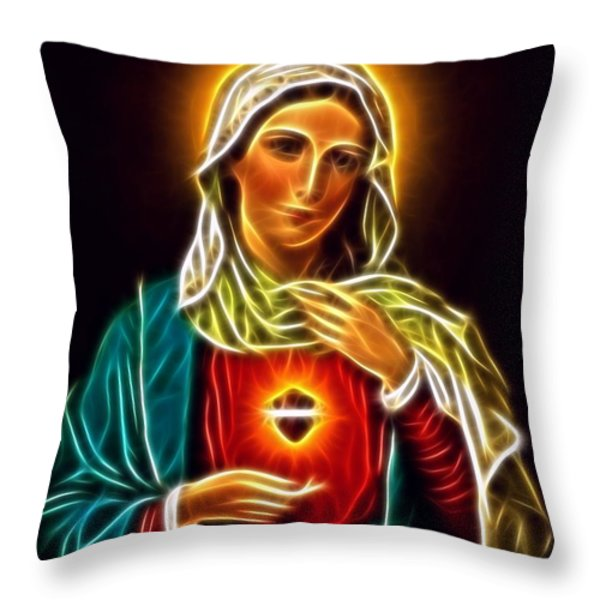 Beautiful Virgin Mary Sacred Heart Throw Pillow by Pamela Johnson