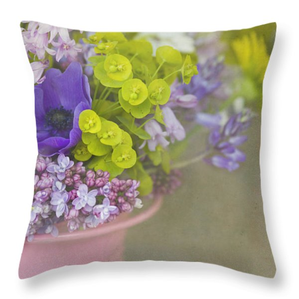 Beauty In A Bucket Throw Pillow by Rebecca Cozart