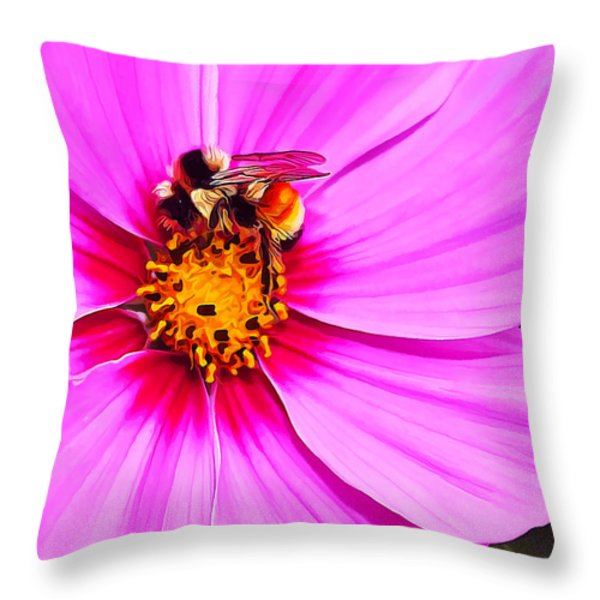 Bee On Pink Throw Pillow by Bill Caldwell -        ABeautifulSky Photography