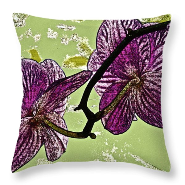 Behind the Orchids Throw Pillow by Gwyn Newcombe