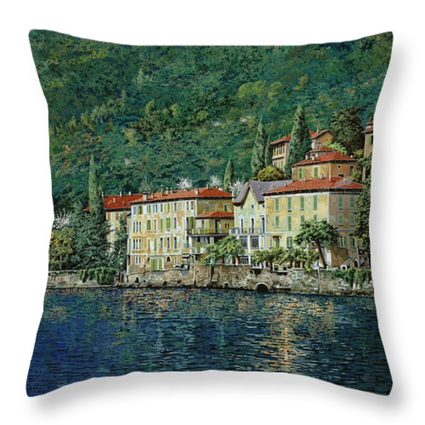 Bellano on Lake Como Throw Pillow by Guido Borelli