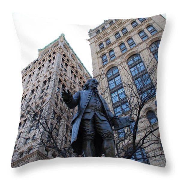 Ben Franklin Throw Pillow by Rob Hans