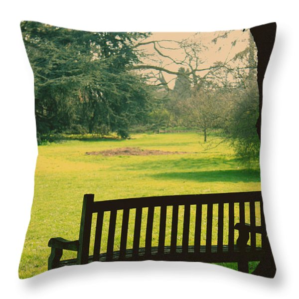 Bench under a tree Throw Pillow by Jasna Buncic