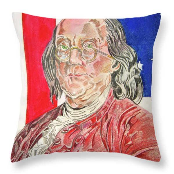 Benjamin Franklin Throw Pillow by John Keaton