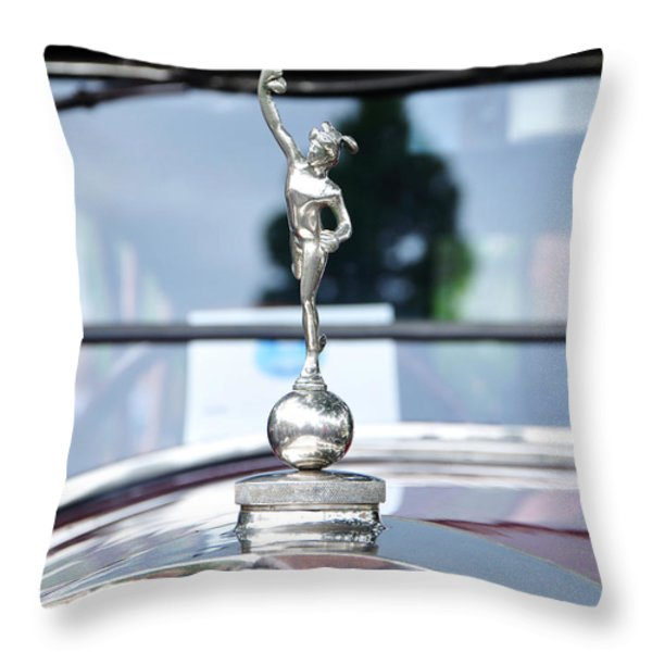 Benz 1916 DS2 - Hood Ornament and Badge Throw Pillow by Kaye Menner