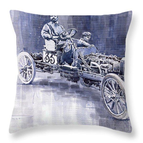 Benz 60HP Targa Florio Rennwagen 1907 Throw Pillow by Yuriy  Shevchuk