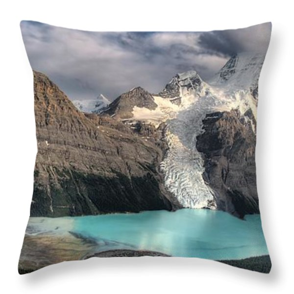 Berg Lake, Mount Robson Provincial Park Throw Pillow by Clarke Wiebe