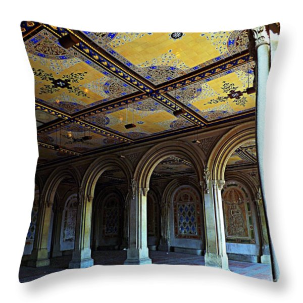 Bethesda Terrace Arcade In Central Park Throw Pillow by James Aiken