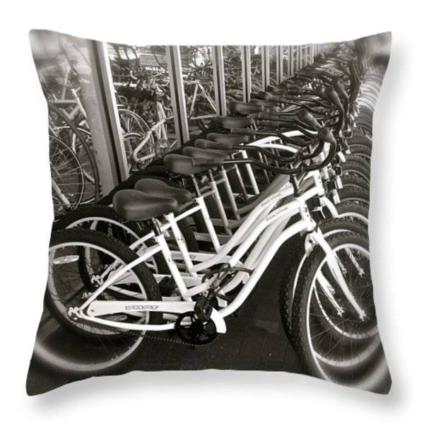 Bicycles In Belmont Shore Throw Pillow by Gwyn Newcombe