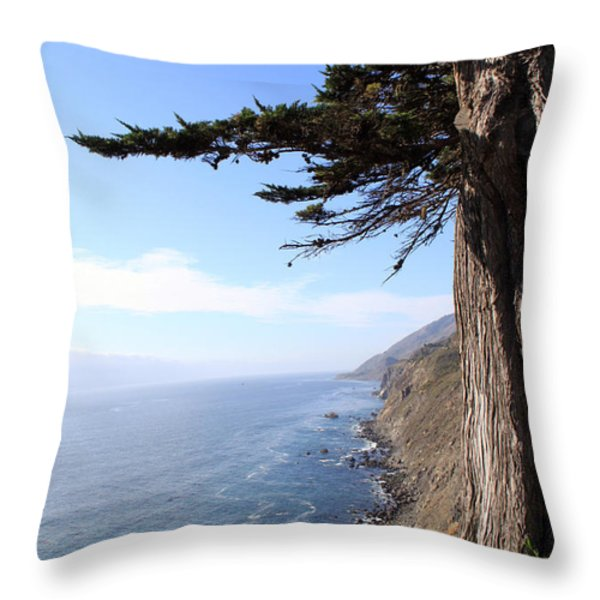 Big Sur Coastline Throw Pillow by Linda Woods
