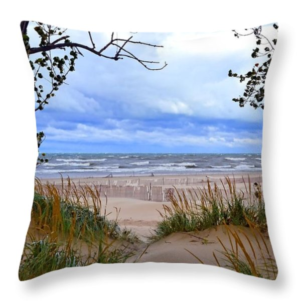 Big Waves on Lake Michigan 2.0 Throw Pillow by Michelle Calkins