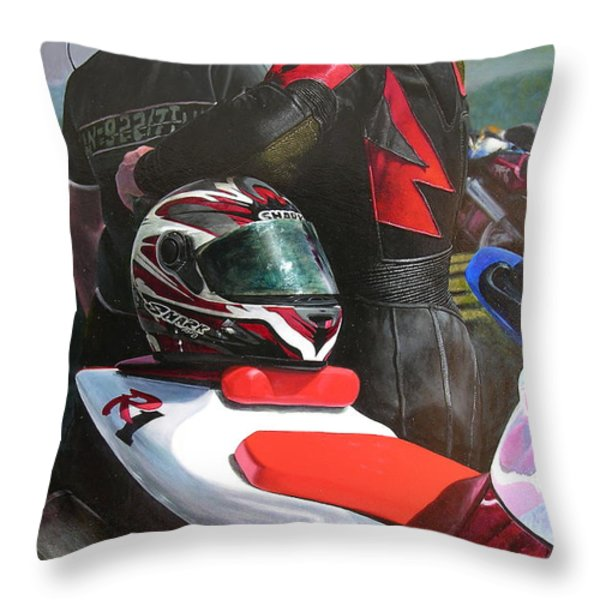 Bikers At The Horseshoe Pass Throw Pillow by Harry Robertson